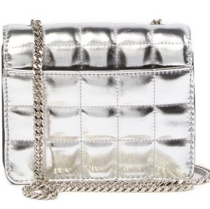 French connection quilted silver crossbody